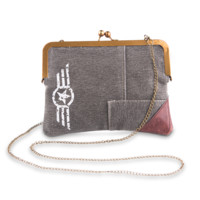 Mona B Star Chain Upcycled Canvas Crossbody Bag with Coin Purse