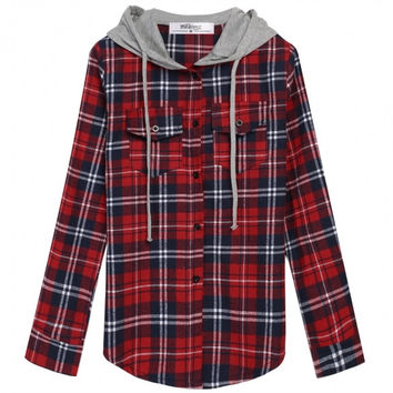 Women Fashion Lady Plaid Loose Hooded Shirt Blouse Hoodies Single Breasted Top