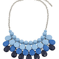 Blue Teardrop and Pearl Collar Necklace