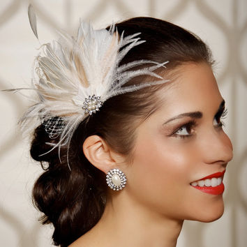 Ivory Champagne Bridal Head Piece Feather Fascinator Vintage Inspired Pearl Rhinestone Wedding Hair Piece - Made to Order - ISABEL