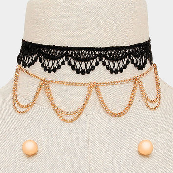 2 PCS - Black & Gold Draped Chain Necklace + Crochet Choker Set