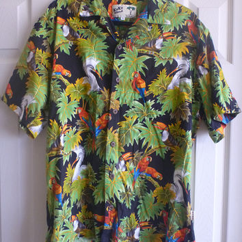Mens Hawaiian shirt. Koko Island tropical print shirt. parrot hawaiian shirt. hawaiian shirt. size Large