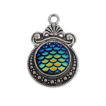 8SEASONS Zinc Based Alloy & Resin Mermaid Fish / Dragon Scale Charms Pendants Round Antique Silver AB Color 28mm x 19mm, 3Pieces