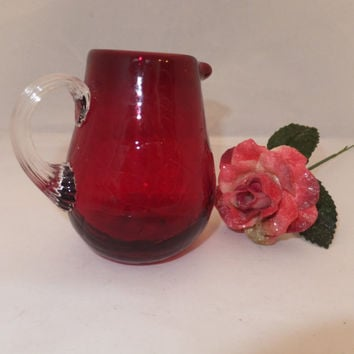 "Pilgrim Glass Cranberry Crackle Glass - Red Pitcher, Creamer, Ruby Red, Mid Century, 3 3/4"" high, Window Shelf Decor,  Serverware"