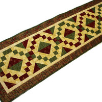 Large Christmas Quilted Table Runner - Red, Green, Gold Table Topper, Jewel Box Table Runner Quilt, Quiltsy Handmade