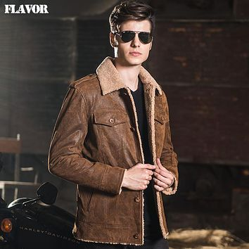 Men's real leather jacket denim double face fur jackets Genuine Leather jacket men leather coat