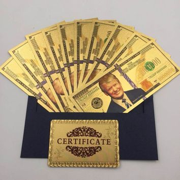 10pcs/lot Colorful USA Trump Banknotes 1,000,000 Dollar Bills Banknote in 24K Gold Plated Paper Money For Gifts