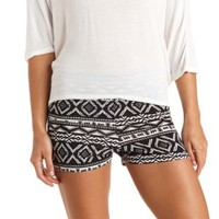 Stretchy Tribal Print Bike Shorts by Charlotte Russe - White Combo