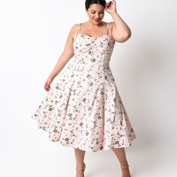 Preorder - Iconic By UV Plus Size 1950s Light Pink Floral Carnaby Swing Dress