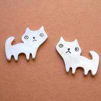 Cat Stud Earrings  Fine Silver Jewelry  Kawaii by StudioRhino