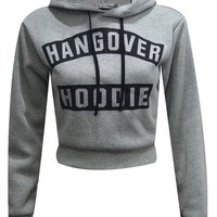 Womens Ladies Hangover Hoodie Print Pull Over Hoody Sweatshirt Crop Top