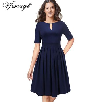 Elegant Keyhole Front Pocket Pleated Business Cocktail Casual Fit and Flare A-Line Midi Dress
