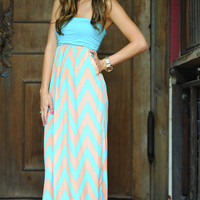 Ocean Breeze Chevron Maxi Dress: Aqua/Peach | Hope's