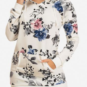 White Floral Tunic W Hood