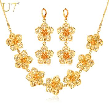 U7 Indian Flower Jewelry Set Gold Color Trendy Party Long Earrings Charms Necklace Set For Women Gift S686