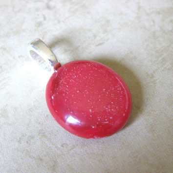 Sale, Small Fused Glass Pendant, Glass Slide, Red, Circle, Large Silver Bail - Scarlet  by mysassyglass