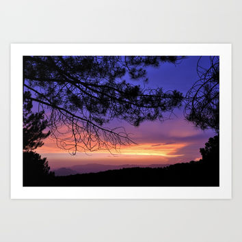 Purple Sunset At The Mountains. Last night Art Print by Guido Montañés