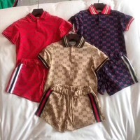 """Gucci"" Women Casual Fashion Retro Multicolor Stripe GG Letter Short Sleeve Polo Shirt Shorts Set Two-Piece Sportswear"
