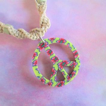 Hemp Necklace - Peace Sign - Handmade Natural Hemp Spiral Necklace with Peace Sign Pendant and Beads