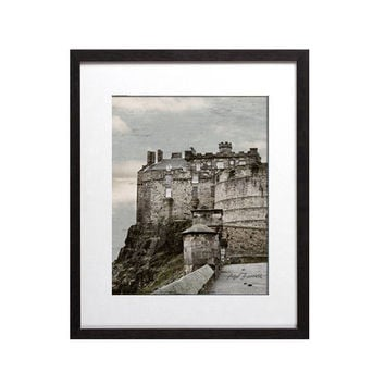 Edinburgh Photography Scotland Castle Rock, Edinburgh Print Architecture Art, Travel, Castle Art, Blue, Grey