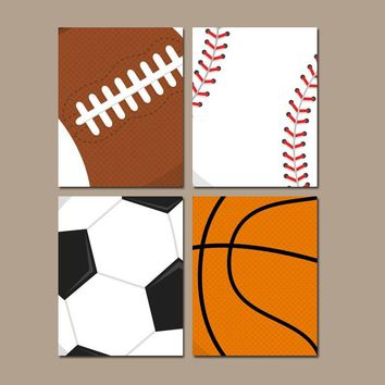 SPORTS Wall Art, Sports Balls, Baby Boy Nursery Decor, Big Boy Bedroom Canvas or Prints Soccer Football Baseball Basketball Set of 4