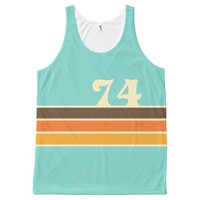 70's Retro Inspired Beach Chest Stripes All-Over-Print Tank Top