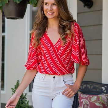 Rockin Life Embroidered Surplice Top : Red