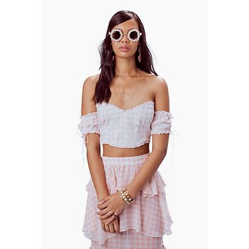 Dixie Ruffled Crop Top - Pink Gingham