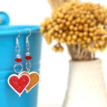 Heart Dangle Earrings, Handmade Polymer Clay