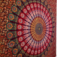 Tapestry,maroon coloured Mandala Hippie Tapestry, Hippie Boho Wall Hanging, Indian Bedspread Bed Sheet Cover, Bohemian Cotton Coverlet Throw
