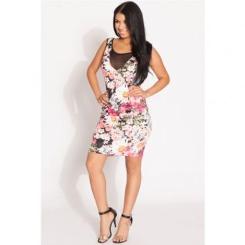 Floral Print Mesh Panel Body Con Dress @ Cicihot sexy dresses,sexy dress,prom dress,summer dress,spring dress,prom gowns,teens dresses,sexy party wear,ball dresses