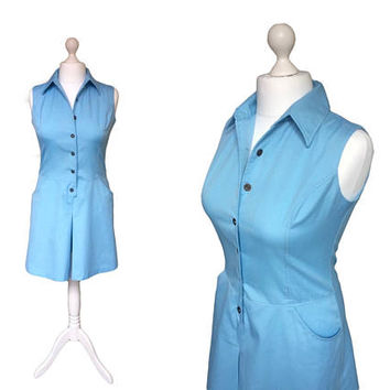 1960's Playsuit | Murr's California | 60's Romper | Vintage Playsuit | Baby Blue All In One Top And Shorts | Palm Springs Romper