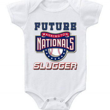 New Cute Funny Baby One Piece Bodysuit Baseball Future Slugger MLB Washington Nationals #2