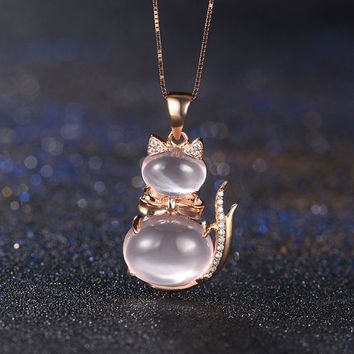 Kitty Cat 18k Rose Gold with Rose Quartz Diamond Pendant Necklace Wedding Birthday Valentine's Mother's Day