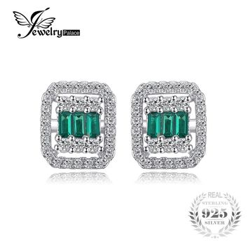 JewelryPalace Brand Vintage 0.59 ct Created Emerald & CZ Square Stud Earrings 925 Sterling Silver Wedding Jewelry For Women Gift
