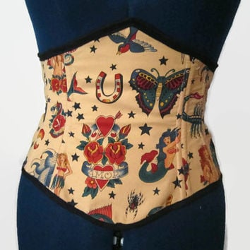 traditional tattoo style sailor jerry  print fabric Waist Corset / cincher!