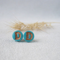 Mint personalized stud Small Letter earring Jewelry mint stud Initial stud polymer Jewelry Tiny polymer studs earring Alphabet woman earring