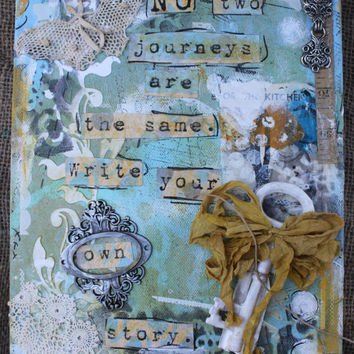 "Gelli® print Covered Canvas,Mixed Media,Original,Inspirational,8x10"" x 1.5"",deep edged,altered art,Vintage elements,Hand painted,Handcrafted"