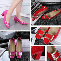 Women Shallow Mouth Square Buckle Square Shoe Head Rough Heels Shoes Mid Heel Single Shoes