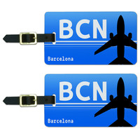Barcelona Spain BCN Airport Code Luggage Tag Set