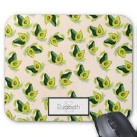 Green Avocados Watercolor Pattern with Monogram Mouse Pad