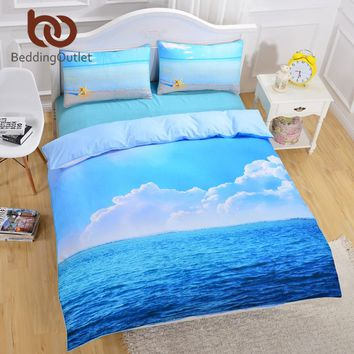 BeddingOutlet Starfish And Ocean Bedding Set Cool 3D Print Duvet Cover Set 3pcs Twin Queen King Size Bed Cover 2017 Hot