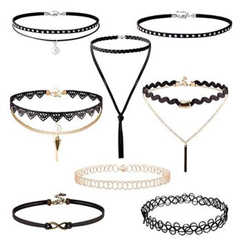 8 Pieces Choker Necklace Set Stretch Velvet Classic Gothic Tattoo Lace Choker