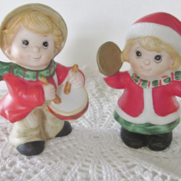 Vintage Christmas Figurines, Boy Girl Musical Instruments, Homco 5564, Drummer Boy, Hand Painted Pair, Christmas Decor, Made in Japan