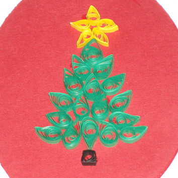 2D Quilled Christmas Card with Quilled Christmas Tree Blank Card