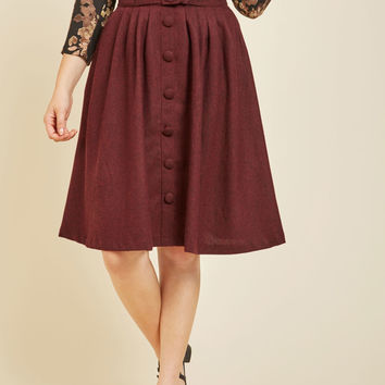 Intern of Fate Midi Skirt in Burgundy | Mod Retro Vintage Skirts | ModCloth.com