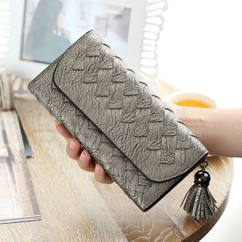 2017 Fashion Knitting Women Purse Tassel Women Wallet Long Clasp Female Money Bag Brand Lady Zipper Wallet Clutch New Carteira F