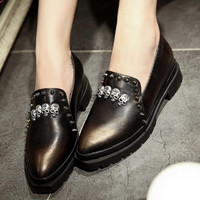 Bullock retro British style shoes for women Thick with skull rivet casual shoes
