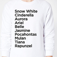 Princess Names Sweater - American Apparel Unisex Sizes S, M, L, XL - Custom Color