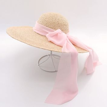 Muchique Wide Brim Raffia Straw Hats for Women Fashion Summer Beach Hats with Chiffon Ties Sun Floppy Hat